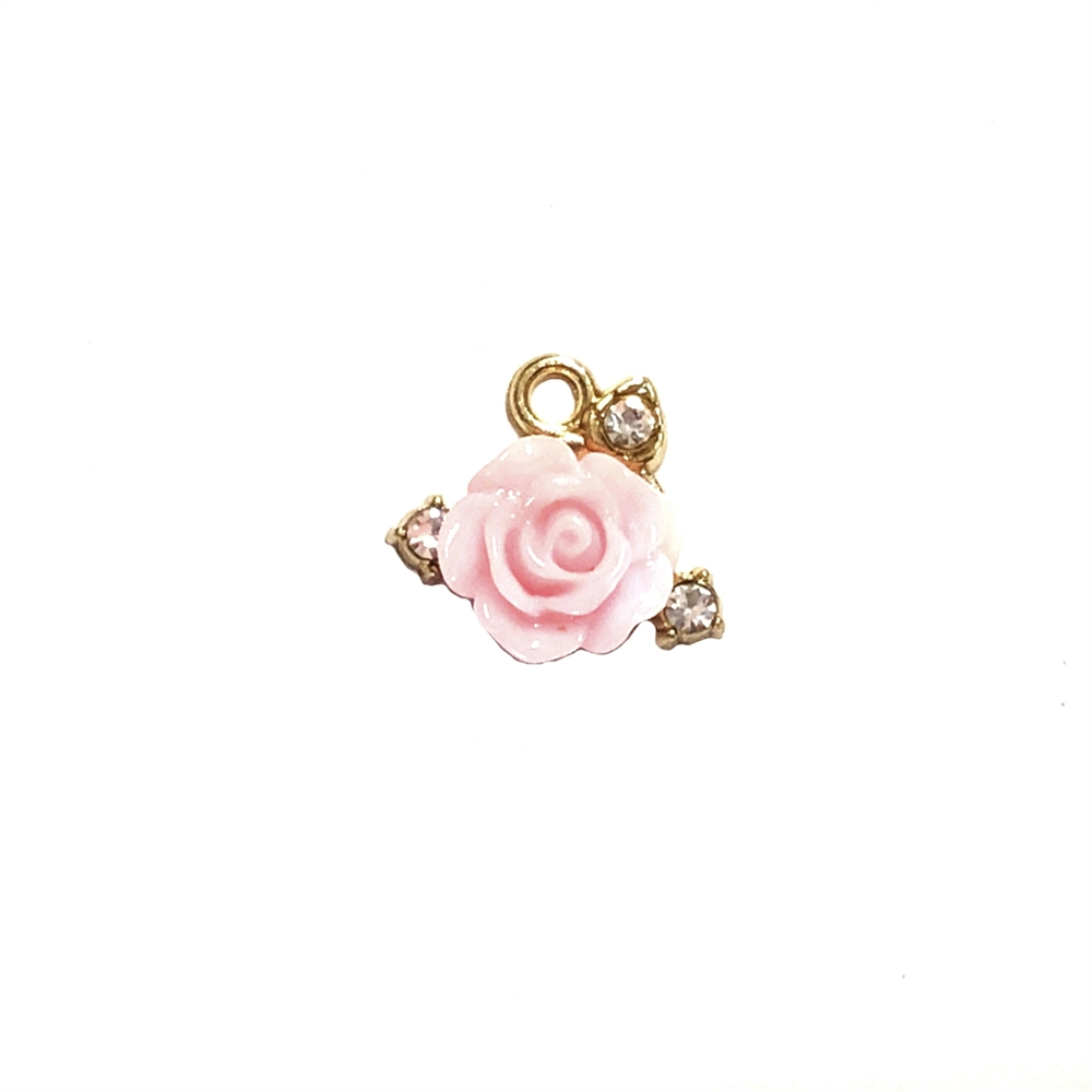 Pink Rose Ear Drops, Rhinestone Accents, 07904, jewelry making supplies, earring supplies, charm supplies, earring jewelry, charm jewelry, cast metal, gold plate, imitation crystal rhinestones, vintage jewelry supplies, bsueboutiques