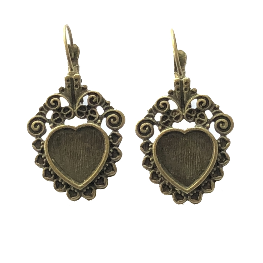 Heart earrings with stone sets, 07908, cast zinc, bronze finish, 28x22mm, vintage jewelry supplies, heart,  jewelry findings, jewelry making, vintage supplies, jewelry supplies, charms, B'sue Boutiques, leverback earrings