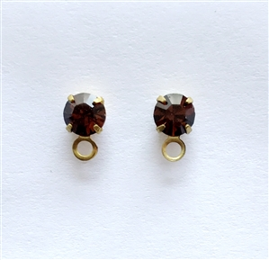 smoked topaz studs, ear ring, studs, smoked topaz, brass, brown, earrings, earring findings, loop, 8x5mm, crystal smoked topaz, back piece, us made, nickel free, b'sue boutiques, jewelry making, jewelry findings, vintage supplies, vintage earrings, 086
