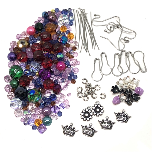 earring kit, earrings, beads, 08761, silverplate, findings, earring findings, fish hooks, Bsue Boutiques, jewelry supplies, jewelry making, kit