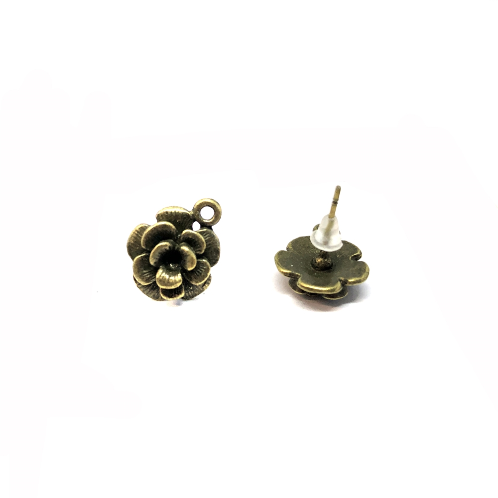 flower earring stud with accent drop, antique bronze, earrings, accent drop, vintage style, lead free, nickle free, \earring findings, zinc alloy,  B'sue Boutiques, antique bronze finish 15x14mm, 08888