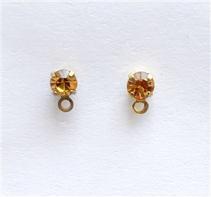 topaz studs, ear ring, studs, topaz, brass, light brown, topaz light brown, earrings, earring findings, loop, 6x4mm, crystal topaz, back piece, us made, nickel free, b'sue boutiques, jewelry making, jewelry findings, vintage supplies, vintage earrings,091