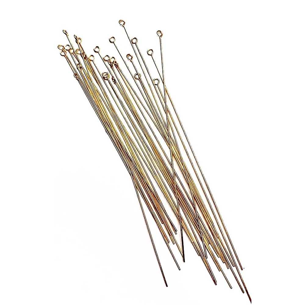 3.75 inch raw brass eyepins, eyepins, raw brass eyepins, 3.75 inch eyepins, wire wrapping pins, 20 gauge eyepins, raw, brass, jewelry making, jewelry supplies, jewelry findings, vintage supplies, wrap eyepins, B'sue Boutiques, 02852