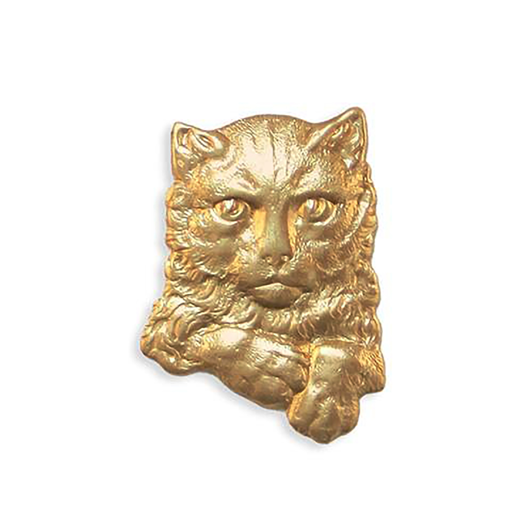 Buster Kitty, Cat Stamping, raw brass, Brass Stamping, 30 x 22mm, Cat, Kitty, Jewelry Finding, Nickel Free, USA Made, B'sue Boutiques, Brass Base Plated, 0100