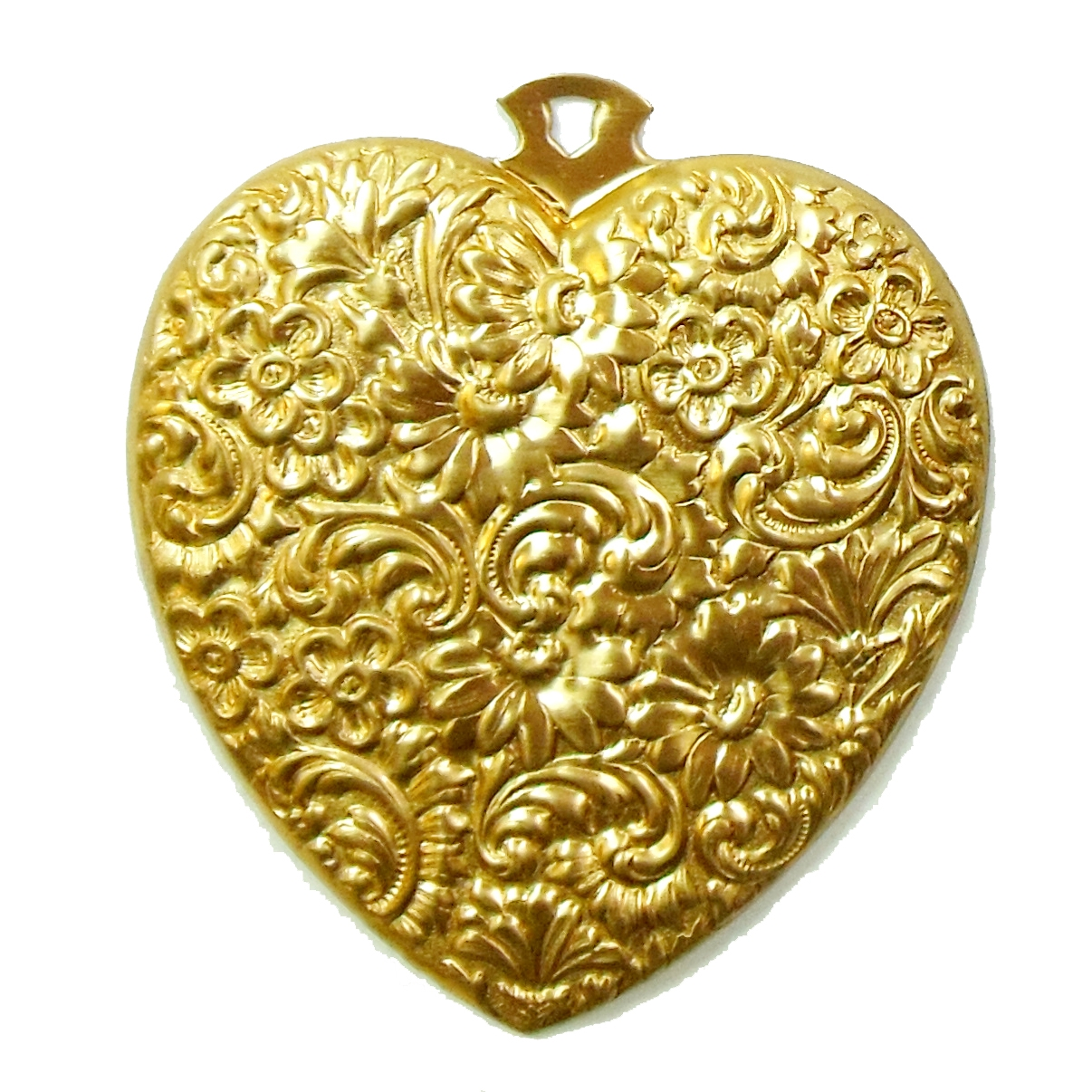 heart pendant, jewelry making, raw brass, 62x55mm