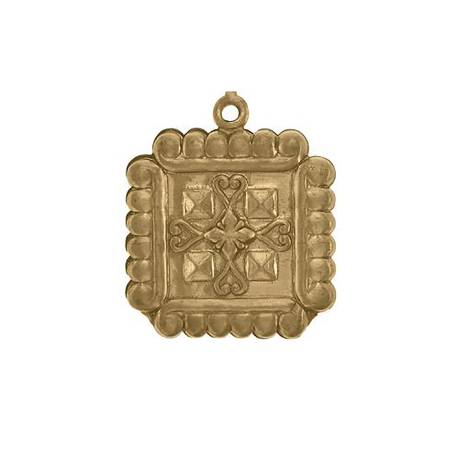 victorian revival pendant, unplated brass, two-sided, puffy charm, puffy pendant, pendant, charm, brass stamping, brass, raw brass, nickel-free, US-made, 21mm, square pendant, jewelry making, jewelry findings, vintage supplies, jewelry supplies, 01042