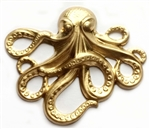 ooky the octopus, brass stamping, raw brass, unplated brass, octopus, sea creature, 54x64mm, B'sue Boutiques, sea animals, beach jewelry, vintage supplies, jewelry making, antique brass, us made, stamping, jewelry supplies, pirate jewelry, 0124