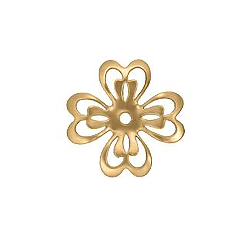 brass flower, slotted flower, raw brass, 27mm