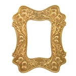 brass frame, frame, raw brass, brass stamping, acorn, leaf design, stamping, frame style, victorian, scotch thistle, unplated, bezel, mount, motif, unplated brass, us made, b'sue boutiques, jewelry supplies, jewelry findings, vintage supplies, 01477