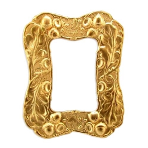 brass frames, acorn frames, frames, oak leaf, acorn, brass stamping, backless design, 78 x 62mm, bezel, mount, unplated brass stamping, us made, nickel free, b'sue boutiques, jewelry findings, vintage supplies, jewelry supplies, jewelry making, 01478