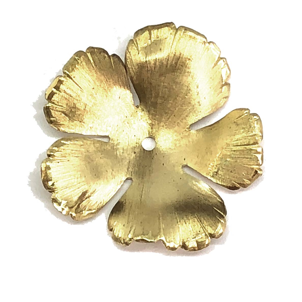small hibiscus flower, raw brass, flower, hibiscus, 33mm, rose, brass stamping, petals, brass, unplated, drilled, stamping, 5 petal, flower petal, is made, nickel free, B'sue Boutiques, jewelry findings, vintage supplies, jewelry supplies, 0160