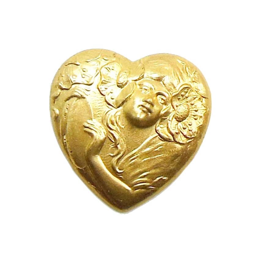 brass heart, lady stampings, jewelry making