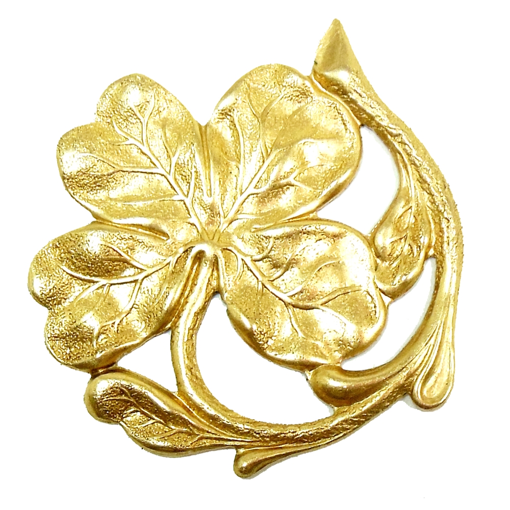 shamrock, shamrock stampings, raw brass, shamrocks, brass stampings, raw, brass, unplated brass, flower jewelry, flower, 47x43mm, B'sue Boutiques, nickel free, us made, jewelry findings, vintage supplies, jewelry supplies, jewelry making, 02010