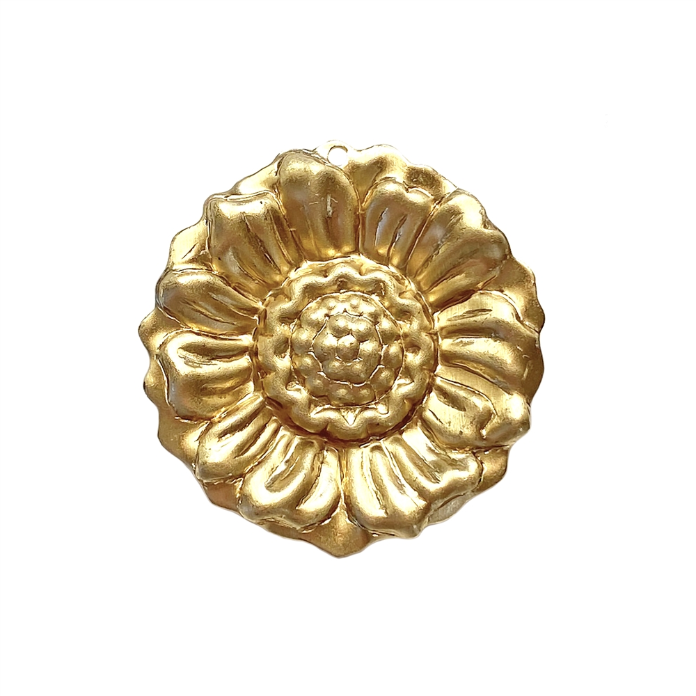 brass flowers, brass sunflower, brass flower pendants, jewelry making, jewelry supplies, antique brass, raw brass, 30mm, brass stampings, B'sue Boutiques, US made, nickel free,  02096