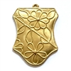 Brass Daisy Design Pendant,Raw Brass,36 x 28mm