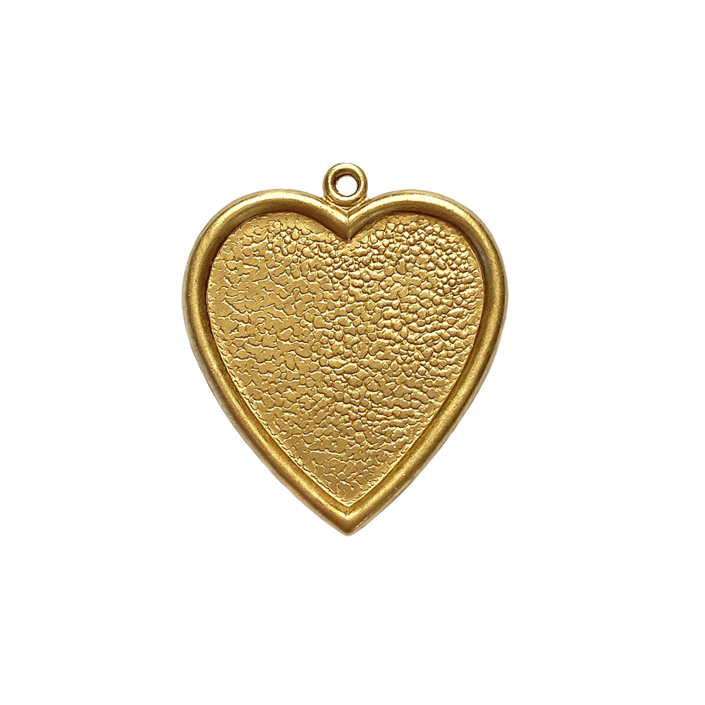inlay heart charm, unplated brass, raw brass, heart charm, heart, heart pendant, heart mount, pendant, brass heart, brass, charm, inlay, resin mount, mount, 25x24mm, 22 karat gold, jewelry making, vintage supplies, B'sue Boutiques, 02247