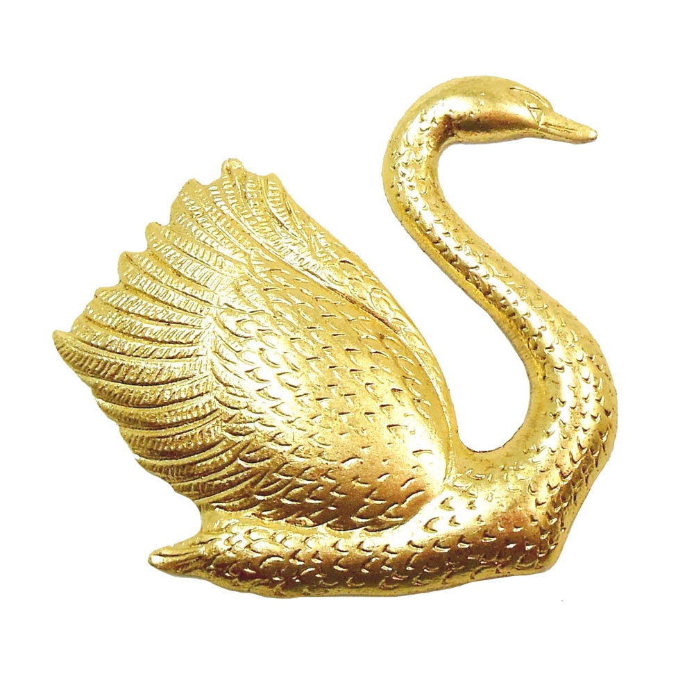 bird stampings, swans, raw brass, 36 x 36mm