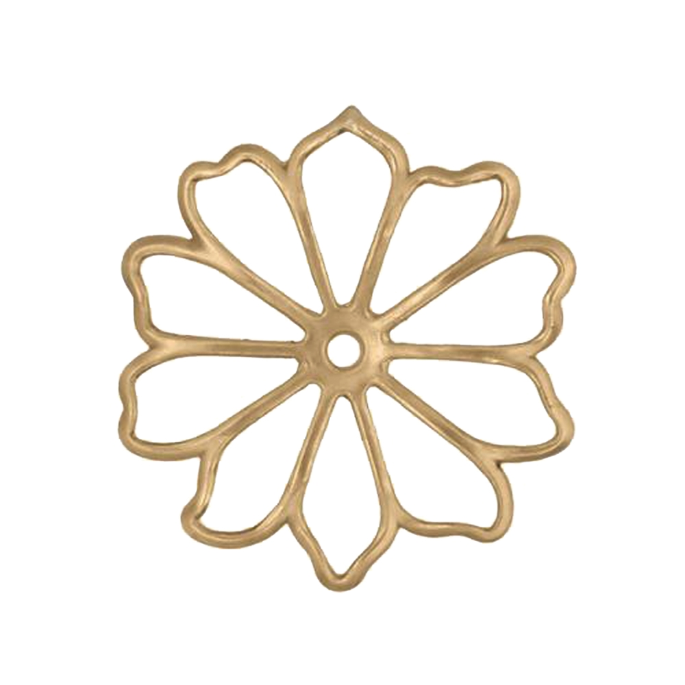 open petal flower stamping, raw brass, unplated brass, flower stamping, brass stamping, filigree flower, open petal flower, 38mm, jewelry making, vintage supplies, flower jewelry, jewelry supplies, jewelry findings, US-made, petal flower, stamping, 02741