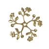 vintage flower pinwheel, pinwheel, brass flower, brass leaves, jewelry making, raw brass, unplated brass, vintage supplies, brass jewelry parts, B'sue Boutiques, nickel free, US made, beading supplies, stone set flowers, flower, leaf, 36mm, brass, 02743