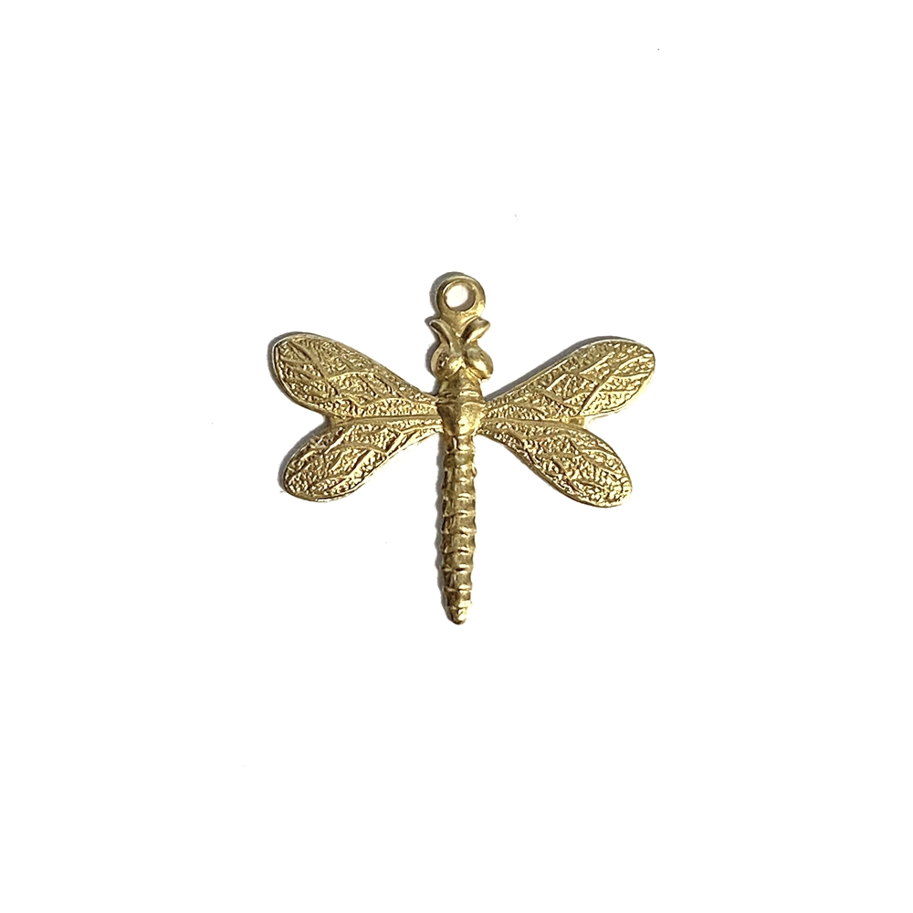 dragonfly charm, unplated brass, raw brass, dragonfly, charm, brass charm, US made, nickel free, 20x21mm, bug charm, jewelry making, dragonfly jewelry, vintage supplies, jewelry supplies, jewelry findings, brass stamping, B'sue Boutiques, 02780