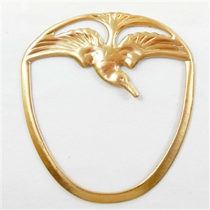 bird pendant, jewelry making, raw brass, 44 x 40mm