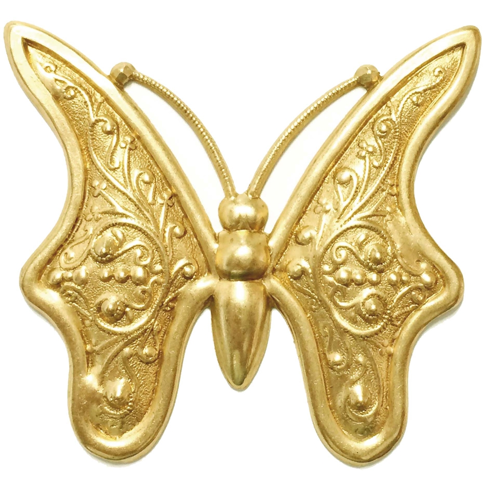 brass butterfly, butterfly jewelry, 54 x 59mm, 03557, raw brass, vintage jewellery supplies, jewelry making supplies, B'sue Boutiques, nickel free jewelry, US made jewelry, insect jewelry, antique brass, Art Nouveau style