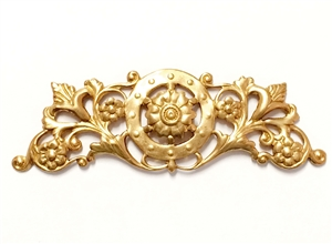 Brass Stampings, Raw Brass, Victorian Swag Style, 23 x 71mm