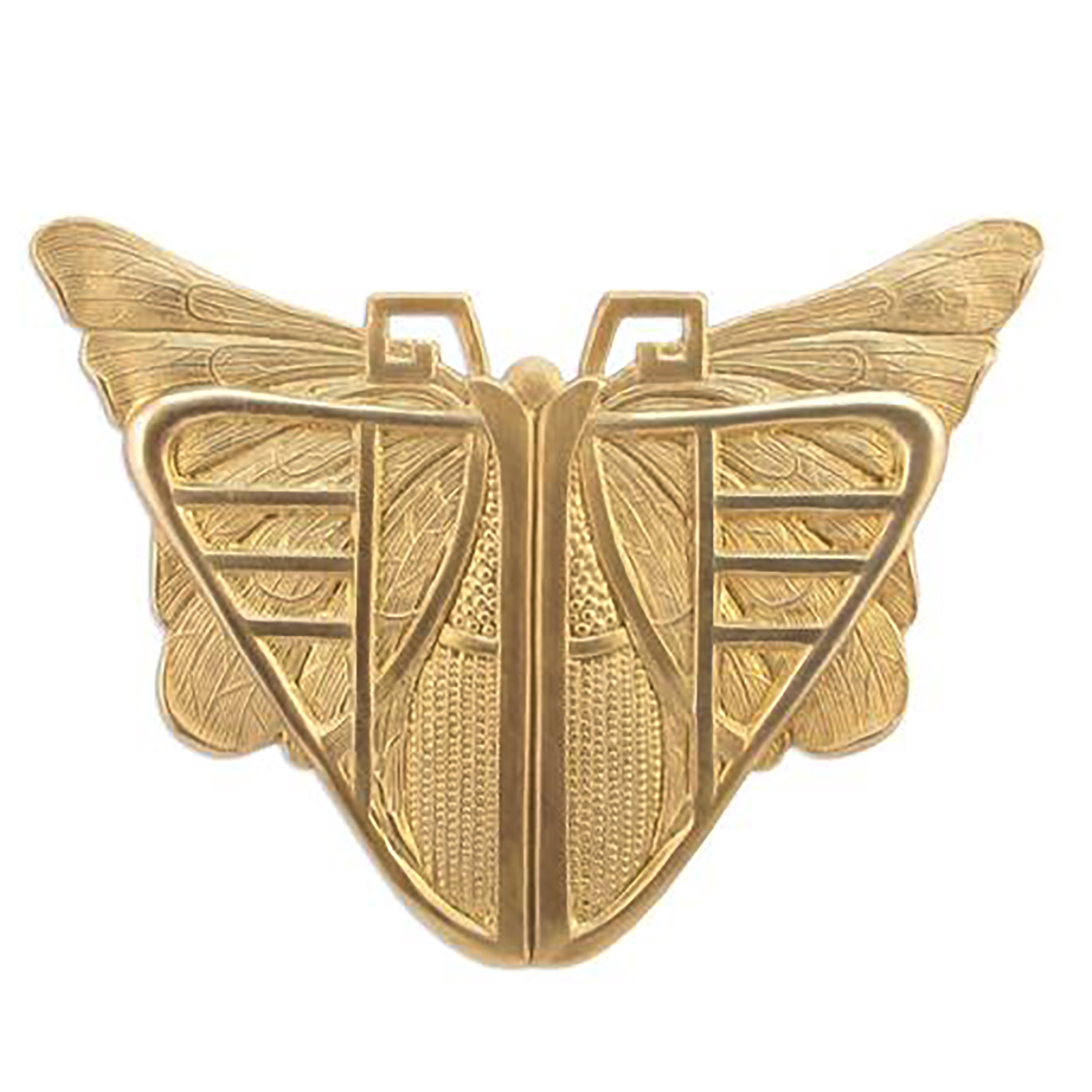 mothra stamping, raw brass, butterfly, unplated brass, brass stamping, brass, mothra, butterflies, Art Deco stampings, vintage supplies, brass jewelry parts, brass findings, jewelry making, jewelry supplies, B'sue Boutiques, 56x73mm, 03739