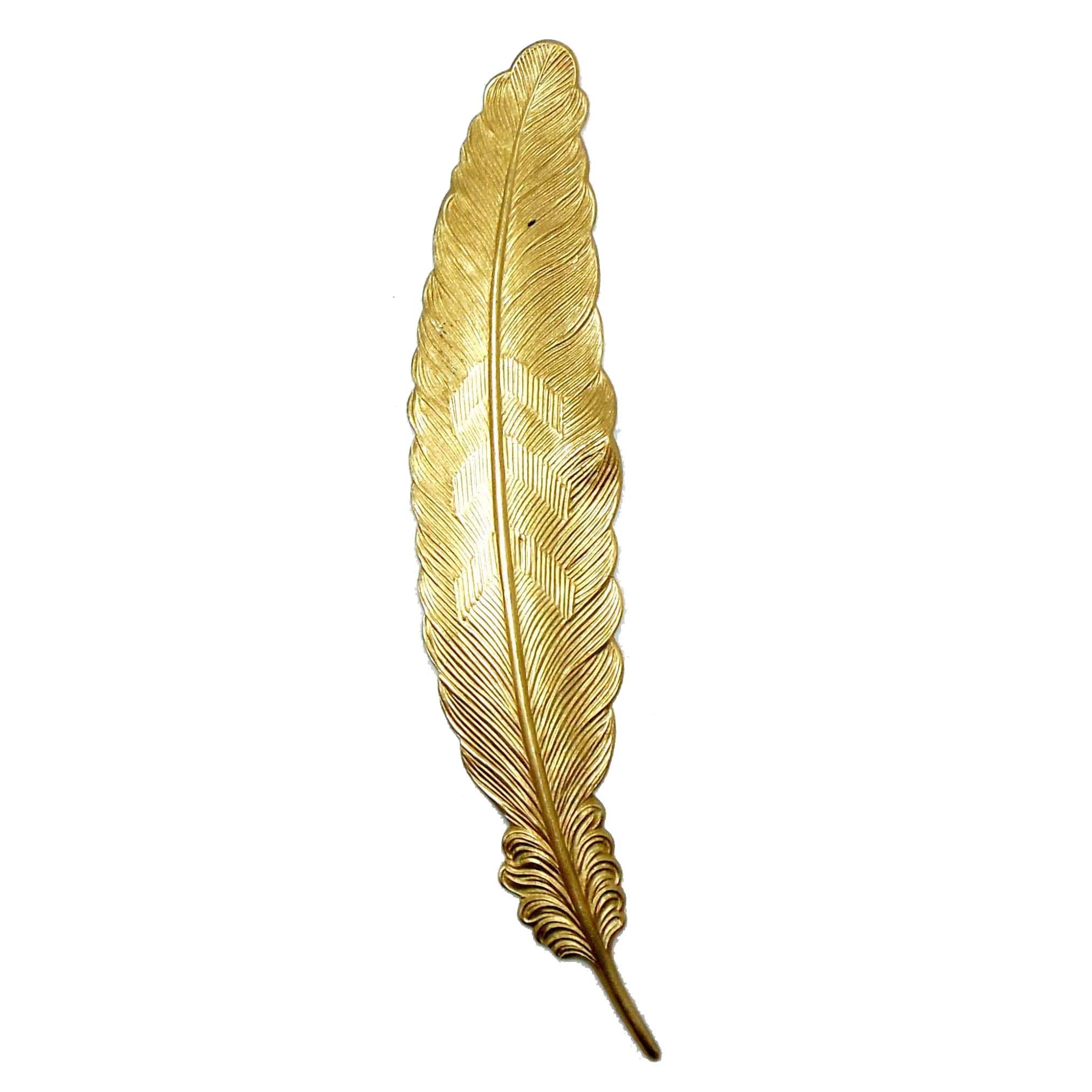 Brass Feather, Feather Stamping, Quill Style, Raw Brass, 4 1/2 Inches