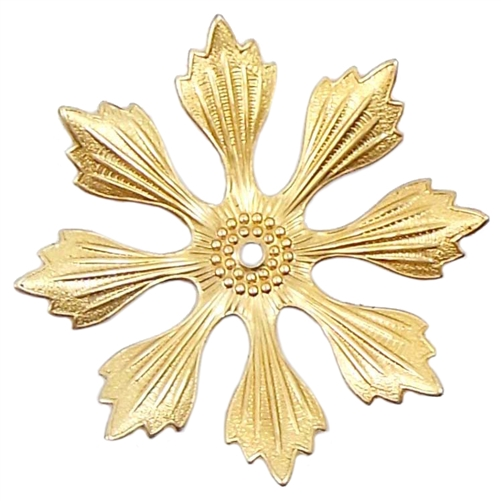 brass flower, raw brass, 04134, eight petal flower, 49mm, large flower, ribbed flower, unplated brass, drilled flower, assemblage, jewelry supplies, jewelry making, Bsue Boutiques