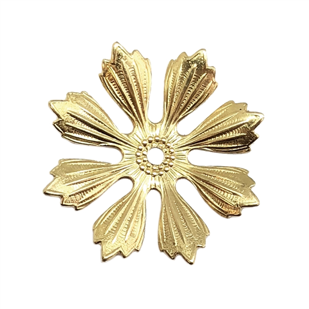 eight petal flower, brass stamping, leaf, leaves, raw brass, unplated brass, 33mm, brass, pinwheels, drilled leaves, jewelry making, jewelry supplies, eight petal leaf, B'sue Boutiques, US made, vintage supplies,antique brass, eight petal, flower, 04138