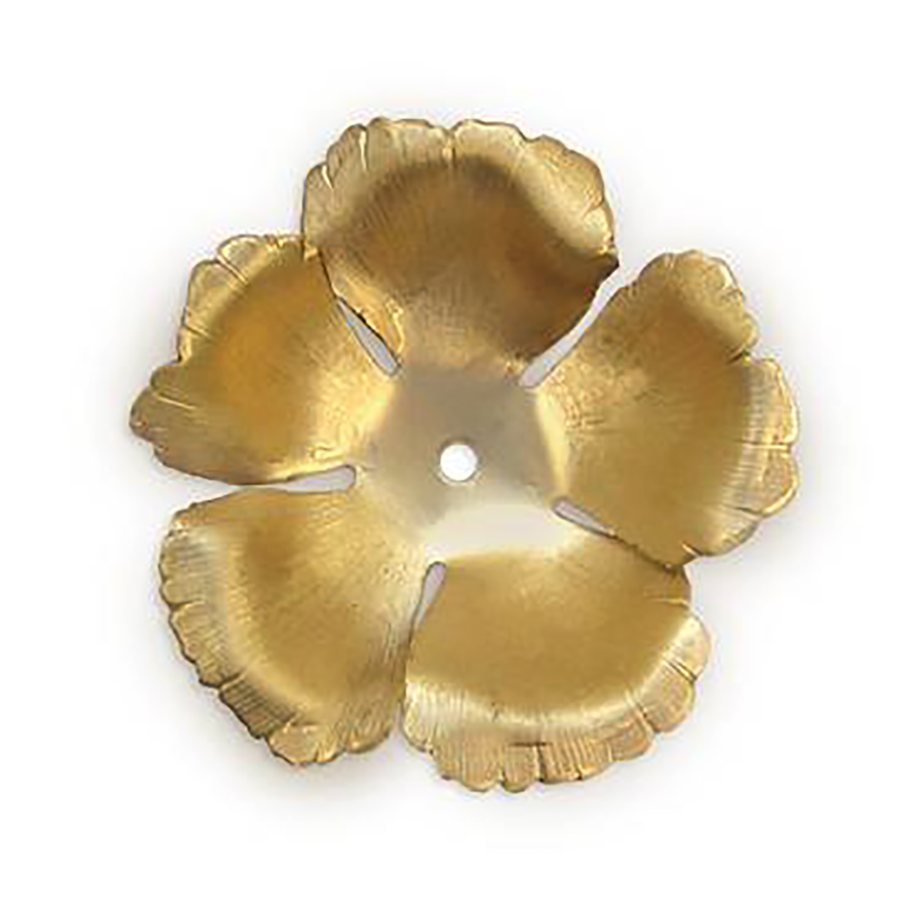 Medium hibiscus flower, raw brass, flower, hibiscus, 44mm, rose, brass stamping, petals, brass, unplated, drilled, stamping, 5 petal, flower petal, is made, nickel free, B'sue Boutiques, jewelry findings, vintage supplies, jewelry supplies, 04143