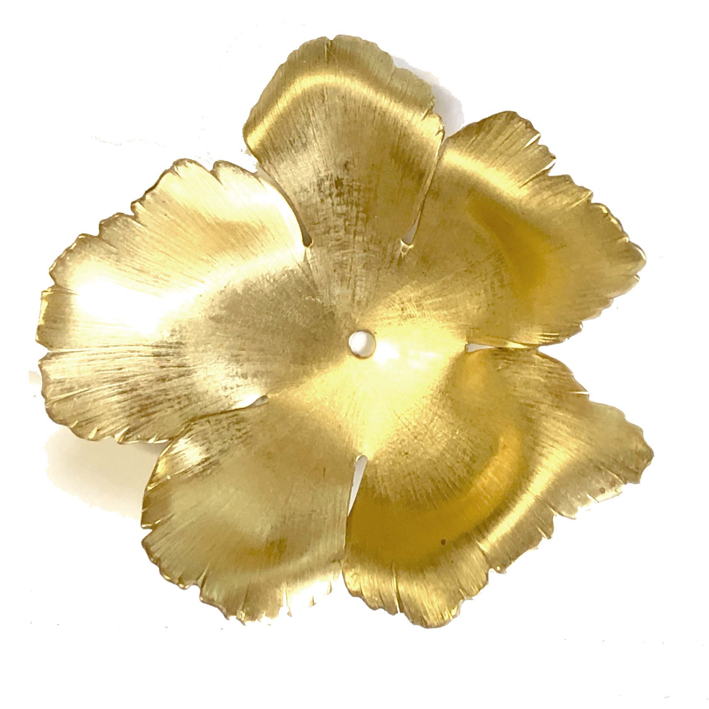 x-large hibiscus flower, raw brass, flower, hibiscus, 59mm, rose, brass stamping, petals, brass, unplated, drilled, stamping, 5 petal, flower petal, is made, nickel free, B'sue Boutiques, jewelry findings, vintage supplies, jewelry supplies, 04145