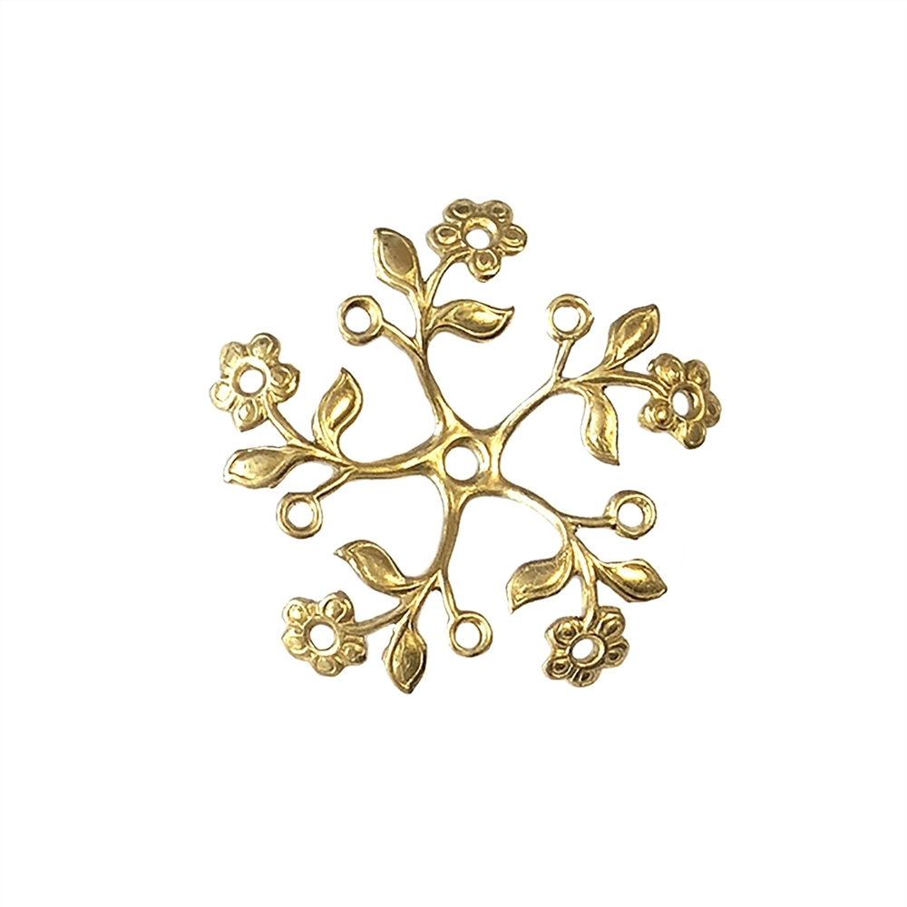 vintage flower pinwheel, pinwheel, brass flower, brass leaves, jewelry making, raw brass, unplated brass, vintage supplies, brass jewelry parts, B'sue Boutiques, nickel free, US made, beading supplies, stone set flowers, flower, leaf, 36mm, 04150