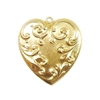 heart pendent, victorian style, raw brass, heart, brass stamping, pendent, brass heart, raw, brass, victorian, 61x57mm, charm, B'sue Boutiques, nickel free, us made, jewelry findings, vintage supplies, jewelry supplies, jewelry making, 04227