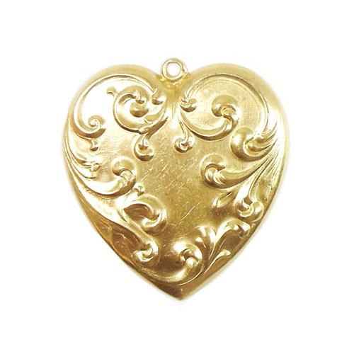 heart pendent, victorian style, raw brass, heart, brass stamping, pendent, brass heart, raw, brass, victorian, 44x47mm, charm, B'sue Boutiques, nickel free, us made, jewelry findings, vintage supplies, jewelry supplies, jewelry making, 04227
