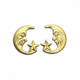 crescent moon, man in the moon, 04859, right and left, pair, embellishments, moon, lunar, sky, moon faces, raw brass, B'sue Boutiques, jewelry supplies, moon and star charms, charm, pair