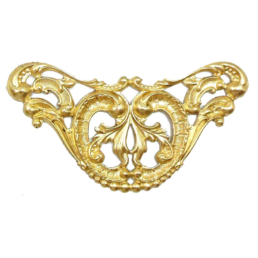 Victorian Style,Brass Filigree ,Raw Brass, 50x85mm