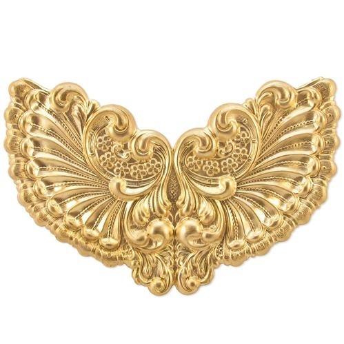 Victorian Winged Style, Raw Brass, US Made, 63x88mm, 05022, brass centerpieces, vintage jewellery supplies, brass stampings, B'sue Boutiques, nickel free jewelry, US made jewelry, steampunk supplies,