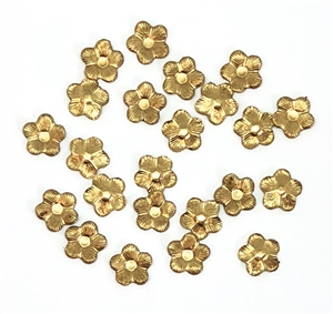 small flower stampings, raw brass, unplated brass, flowers, five petal flowers, brass, stampings, 8mm, flower stamping, us made, nickel free, jewelry making, jewelry supplies, vintage supplies, jewelry findings, accent pieces, B'sue Boutiques, 05144