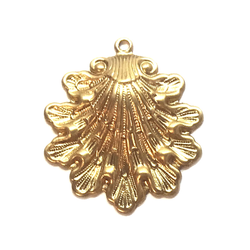 shell stampings, raw brass, unplated brass, pendant, shell pendant, pendant style, shells, sea shell jewelry, sea shells, 29x26mm, hollow back, brass, sea shell pendant, jewelry making, vintage supplies, jewelry supplies, B'sue Boutiques, 05569