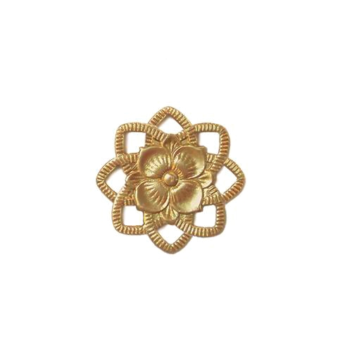 brass flowers, rosette, pendant, jewelry making, jewelry supplies, flower pendant, Victorian, vintage brass, old brass jewelry parts, brass jewelry, vintage supplies, jewelry connectors, B'sue Boutiques, connector, flower, raw brass, unplated brass, 05805