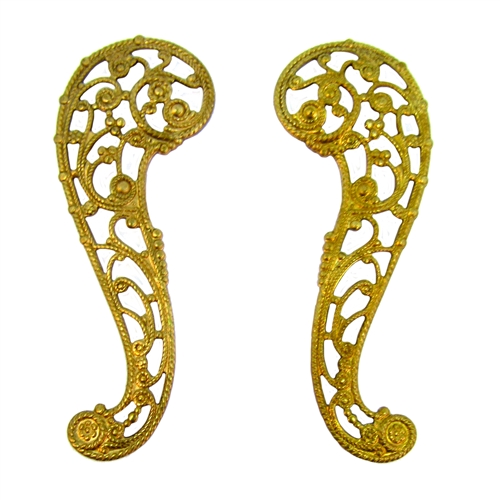 paisley filigree stampings, raw brass, 06155, filigree, paisley, pair, left facing, right facing, unplated brass, vintage jewelry supplies, vintage jewelry making, bsue boutiques