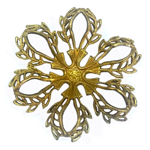 filigree flower, patina brass, 06166, raw brass, made in the USA, B'sue Boutiques, brass filigree, brass flowers, antique brass filigree, vintage jewelry supplies, old jewelry parts, vintage brass flower
