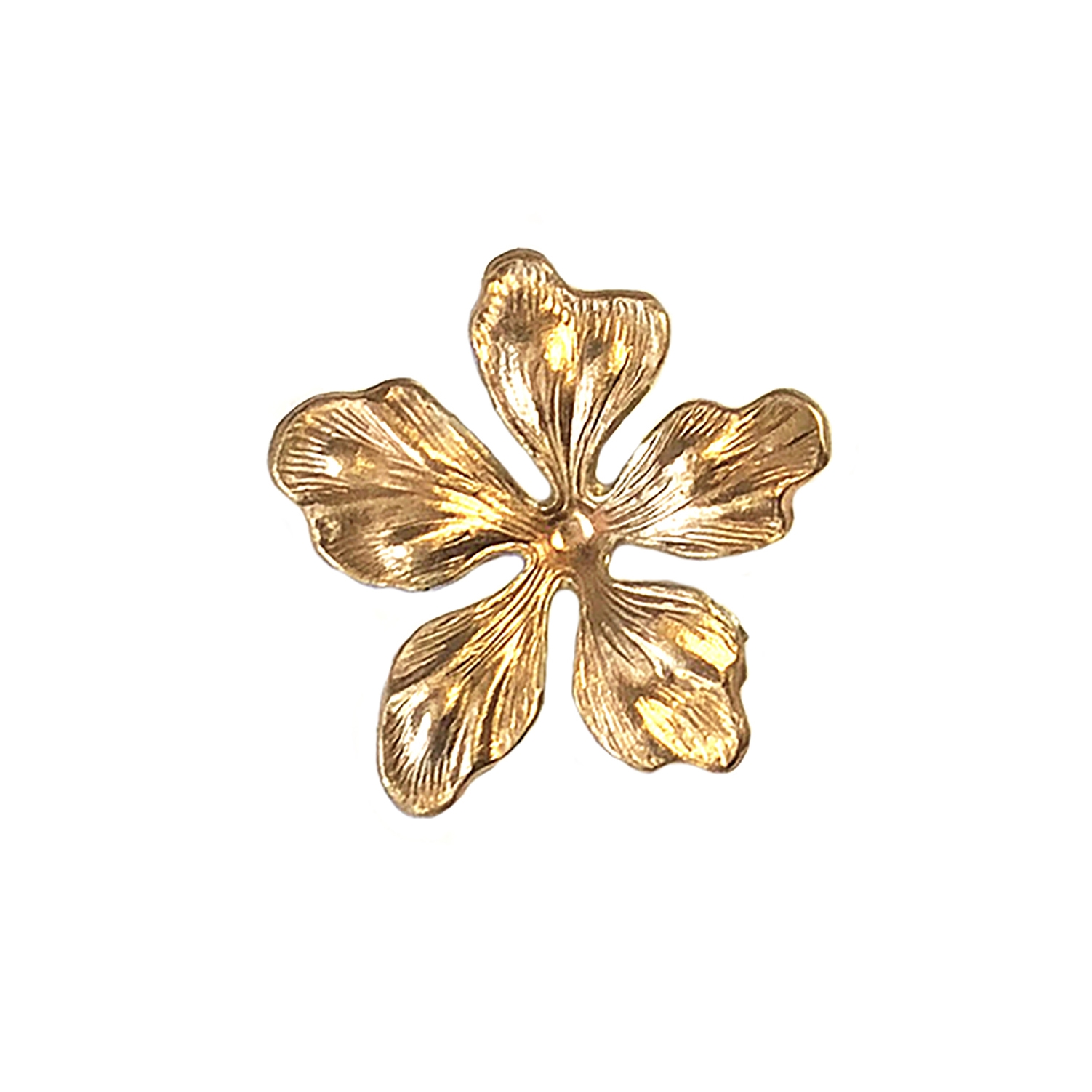 brass flower, dogwood, flower parts, vintage jewelry making supplies, unplated brass, brass stampings, old flower parts, old jewelry parts, jewelry findings made in the USA, dogwood flower, vintage flower jewelry, B'sue Boutiques, flower power jewelry