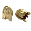 brass beads, tulip beads, raw brass, 21mm