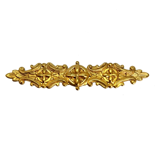 brass floral bar, jewelry making, unplated brass, 06800, 4 inches, B'sue Boutiques,  jewelry supplies, vintage jewelry supplies, bracelet bar, leaf design