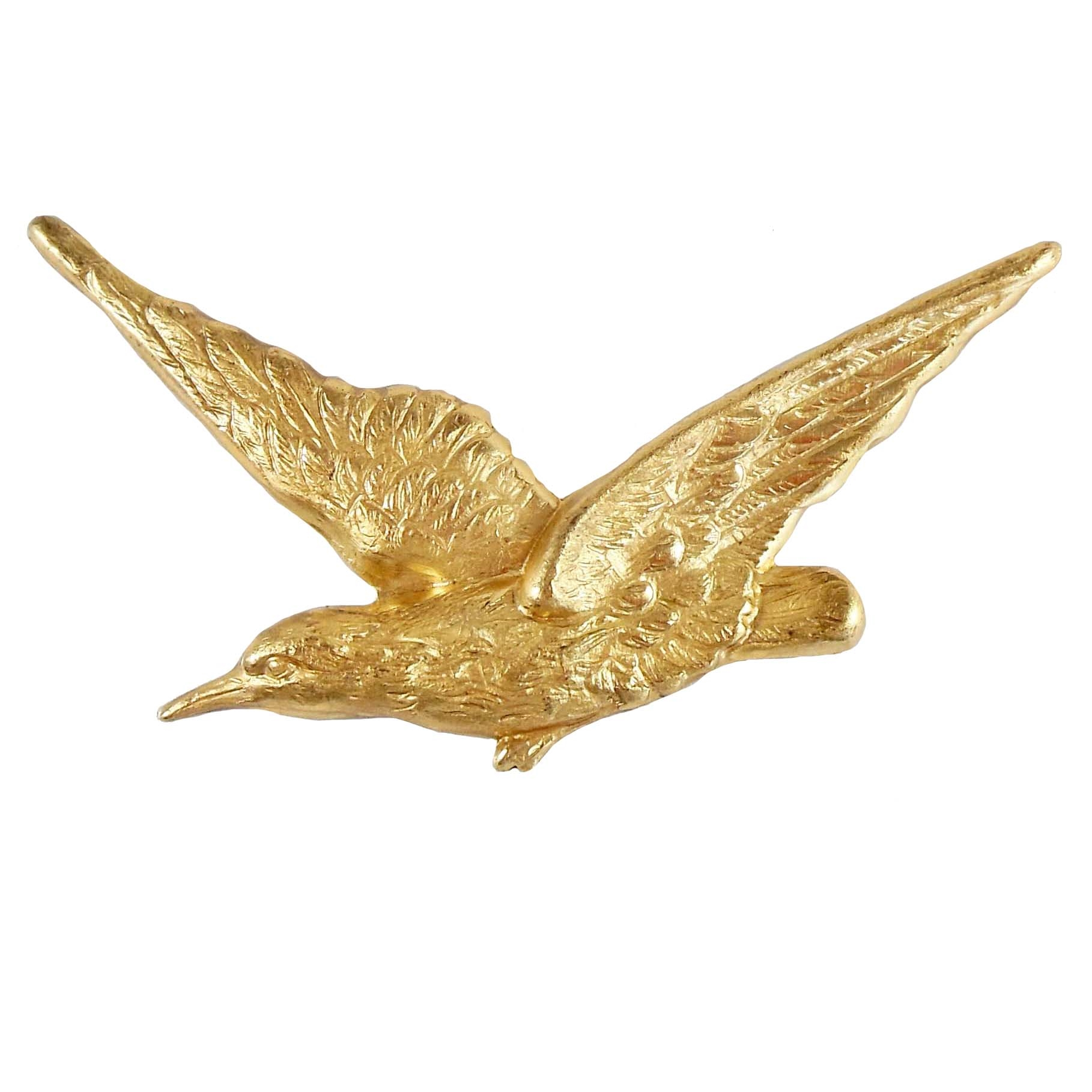 brass bird, bird stampings, raw brass, 06866, B'sue Boutiques, nickel free, US Made, jewelry making, jewelry supplies, bird jewelry, antique brass, vintage jewelry parts, brass jewelry parts, flying birds, large winged bird