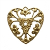 filigree heart charm, raw brass, pendant, unplated brass, filigree, heart, charm, stone sets, brass stamping, heart filigree, brass, us made, nickel free, B'sue Boutiques, 27x26mm, jewelry making, jewelry supplies, vintage supplies, 06895