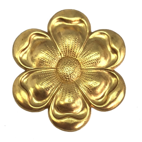 Brass Flower, Raw Brass, Flower, 06930 45mm, brass stamping, petals, brass, unplated, stamping, 6 petal, flower petal, US made, nickel free, B'sue Boutiques, jewelry findings, vintage supplies, jewelry supplies